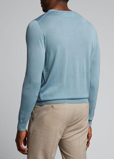 Men's Plain Knit Wool Sweater
