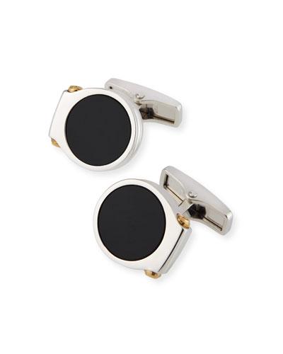 Men's Double-Hex Onyx Cufflinks