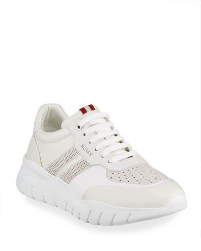Men's Bison Perforated Lamb Leather Sneakers