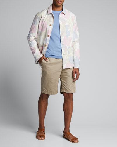 Men's Floral-Print Worker Jacket