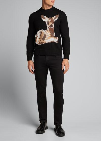 Men's Fawn Intarsia-Knit Crewneck Sweater