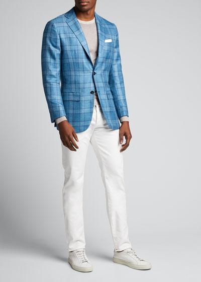 Men's Plaid Cashmere-Blend Sport Jacket