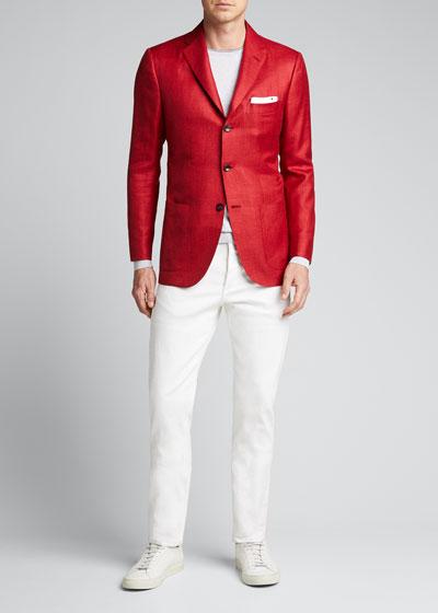 Men's Solid Three-Button Blazer