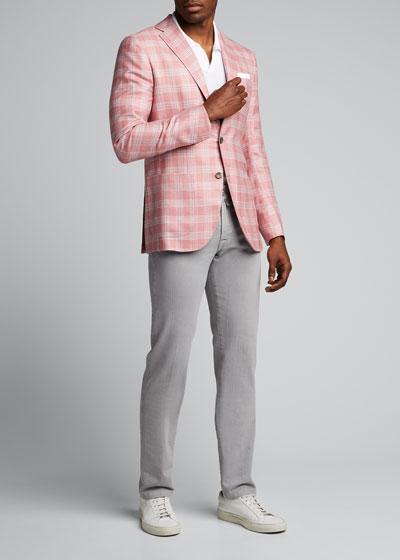 Men's Plaid Three-Button Jacket
