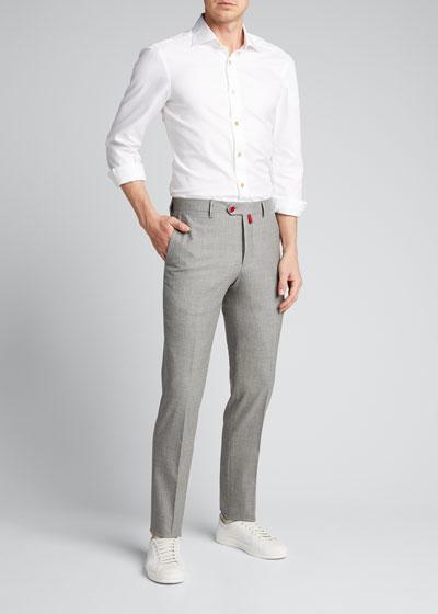 Men's Stretch-Cashmere Pants w/ Metal Button
