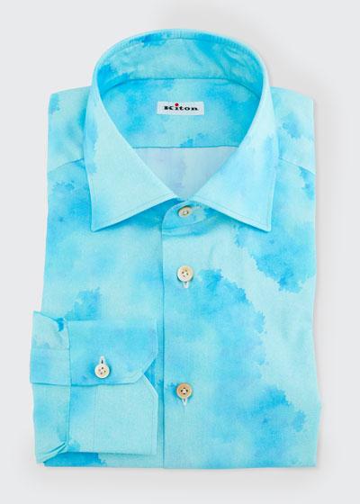 Men's Linen Blotch-Print Dress Shirt