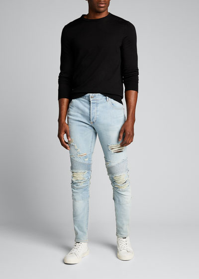 Men's Destroyed Slim-Fit Moto Jeans