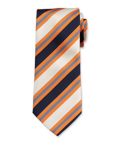 Men's Wide Stripe Silk/Cotton Tie