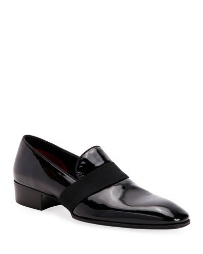 Men's Formal Patent Leather Loafers w/ Grosgrain Strap