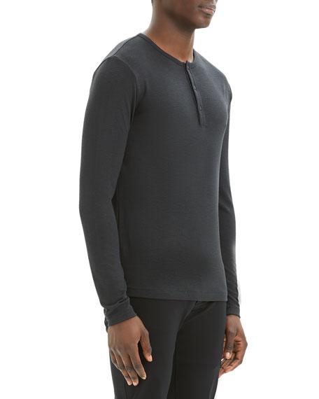 Men's Solid Snap-Button Henley Shirt