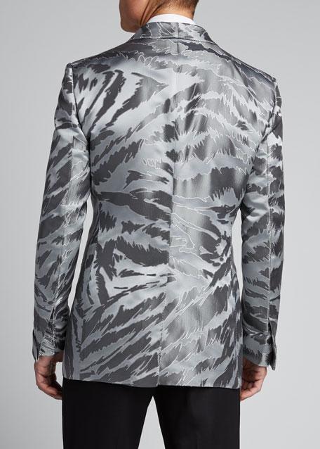 Men's Textured Zebra Jacquard Dinner Jacket