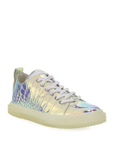 Men's Iridescent Croc-Embossed Sneakers