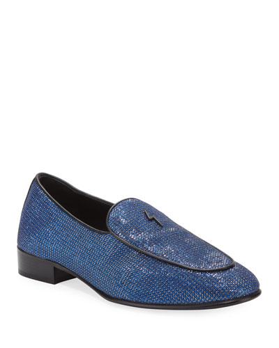 Men's Patterned Metallic Loafers
