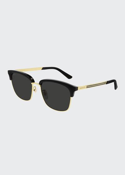 Men's Half-Rim Acetate/Metal Square Sunglasses