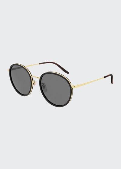 Men's Oval Acetate/Metal Sunglasses