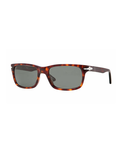 Men's Rectangle Havana Acetate Sunglasses