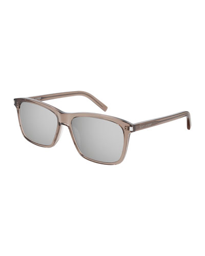 Men's Mirrored Translucent Rectangle Sunglasses