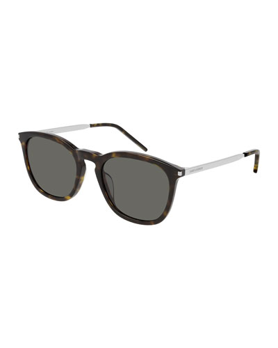 Men's Round Havana Acetate/Metal Sunglasses