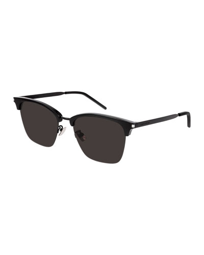 Men's Half-Rim Solid Acetate/Metal Sunglasses