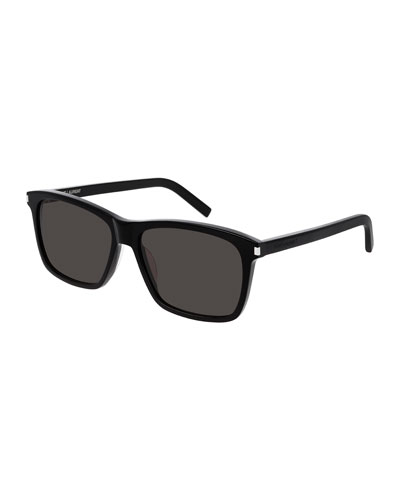 Men's Rectangle Solid Acetate Sunglasses