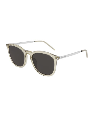 Men's Round Transparent Acetate/Metal Sunglasses
