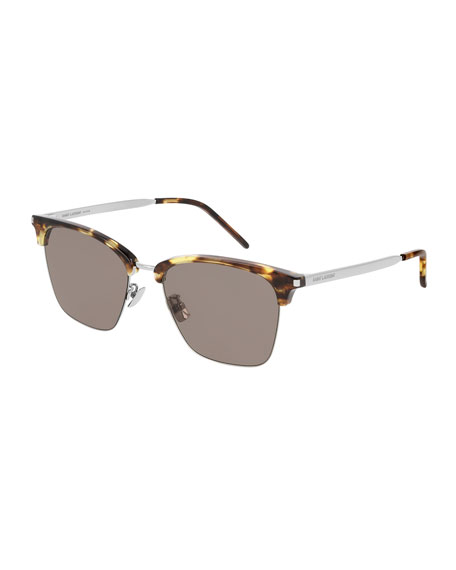 Men's Half-Rim Havana Acetate/Metal Sunglasses
