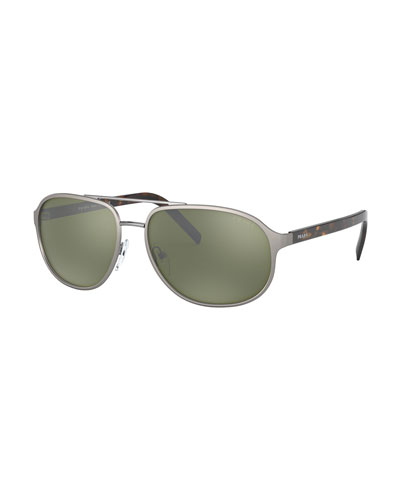 Men's Square Metal/Tortoiseshell Acetate Sunglasses