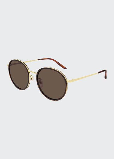 Men's Oval Havana Acetate/Metal Sunglasses