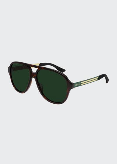 Men's Havana Aviator Logo Sunglasses