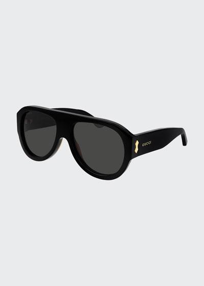 Men's Solid Acetate Aviator Sunglasses