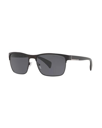 Men's Half-Rim Metal Polarized Sunglasses