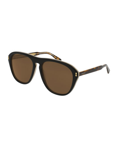 Men's Two-Tone Tortoiseshell Aviator Sunglasses