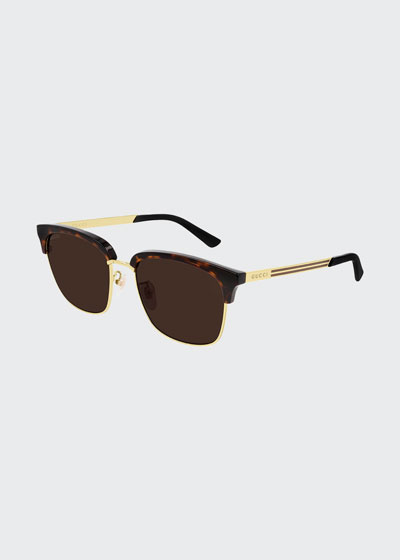Men's Half-Rim Havana Acetate/Metal Sunglasses