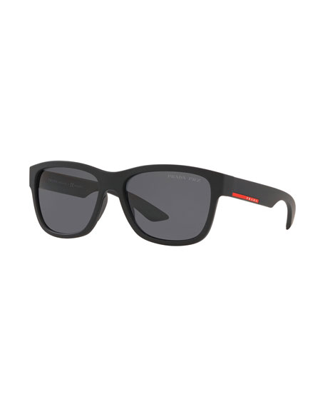 Image 1 of 1: Men's Polarized Rectangle Plastic Sunglasses