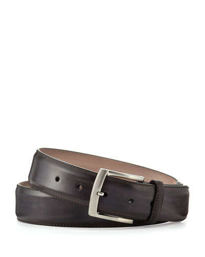 Men's Square-Buckle Calf Leather Belt