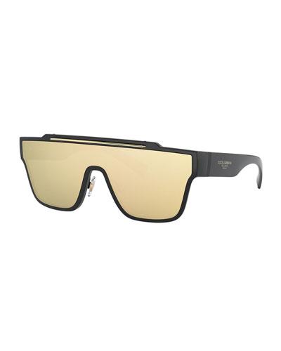 Men's Mirrored Shield Propionate Sunglasses