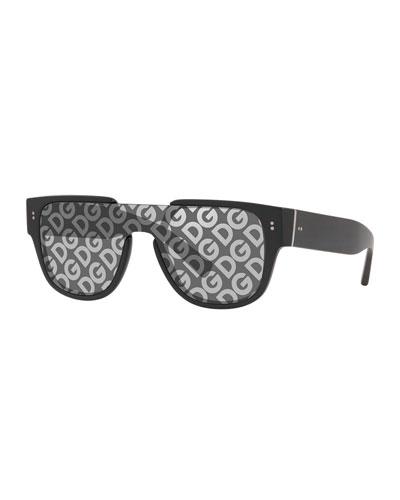 Men's Logo-Monogrammed Shield Lens Sunglasses