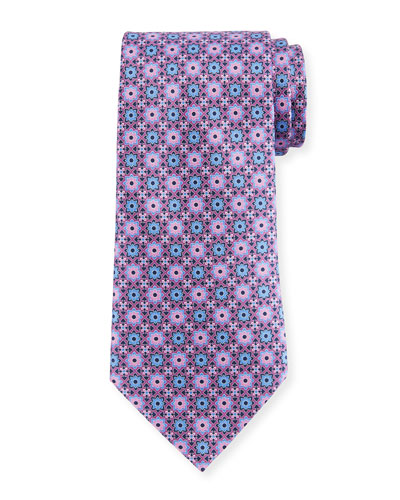 Geometric Flower Silk Tie