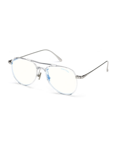 Men's Acetate Aviator Glasses with Blue Block Lenses