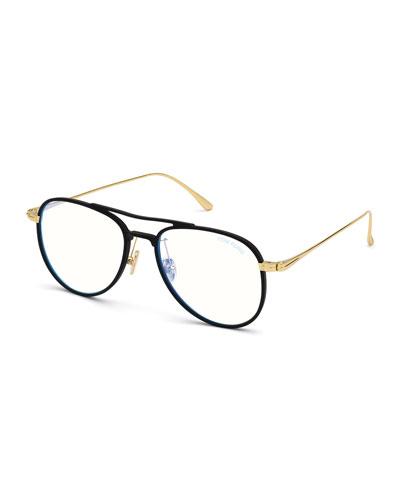 Men's Acetate Aviator Glasses with Blue Block Lenses
