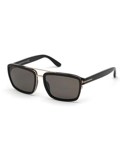 Men's Anders Rectangle Acetate/Metal Sunglasses