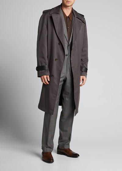 Men's Two-Tone Knit Polo Shirt