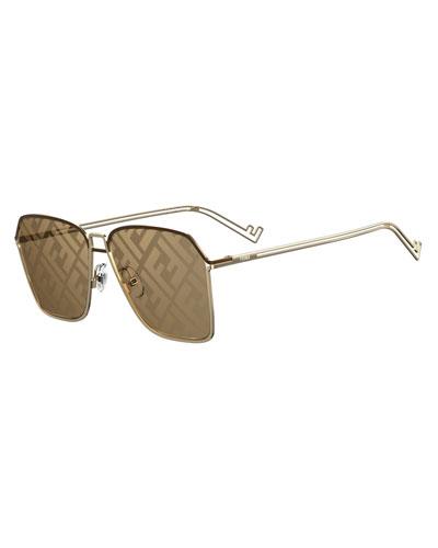 Men's Mirrored FF-Monogram Square Metal Sunglasses