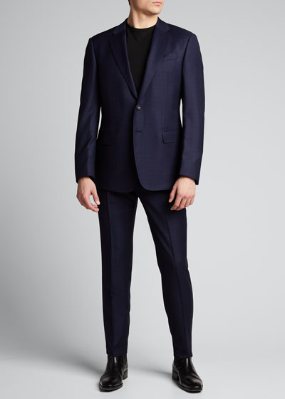 Men's Two-Piece Box Plaid Suit