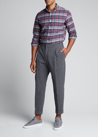 Men's Pleated Seersucker Trousers