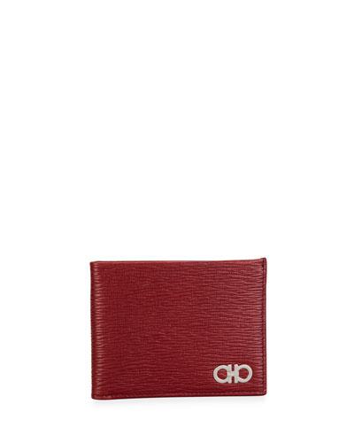 Men's Gancini Textured Leather Bifold Wallet