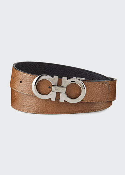 Men's Gancini Reversible Pebbled Leather Belt