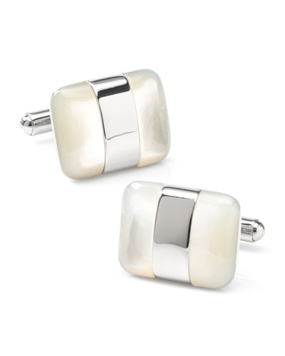 Men's Silver-Wrapped Mother-of-Pearl Cufflinks