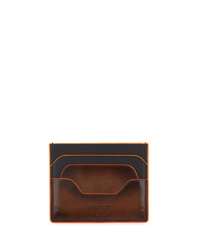 Men's Bambou Neo Scritto Leather Card Case