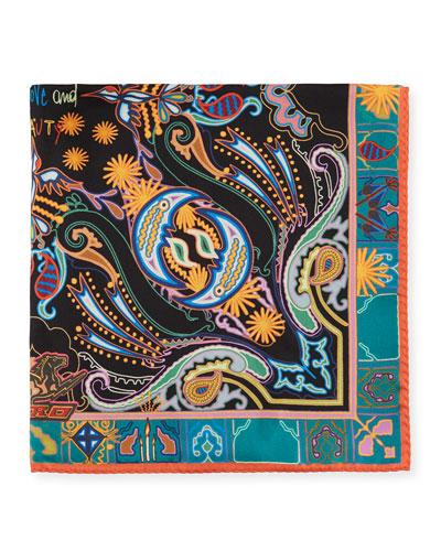 Men's Multicolor Paisley Silk Pocket Square